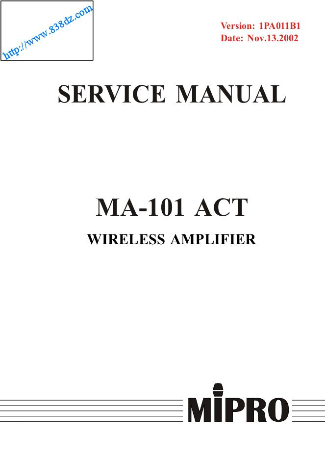 咪宝mipro MA-101ACT无线扩音机维修手册