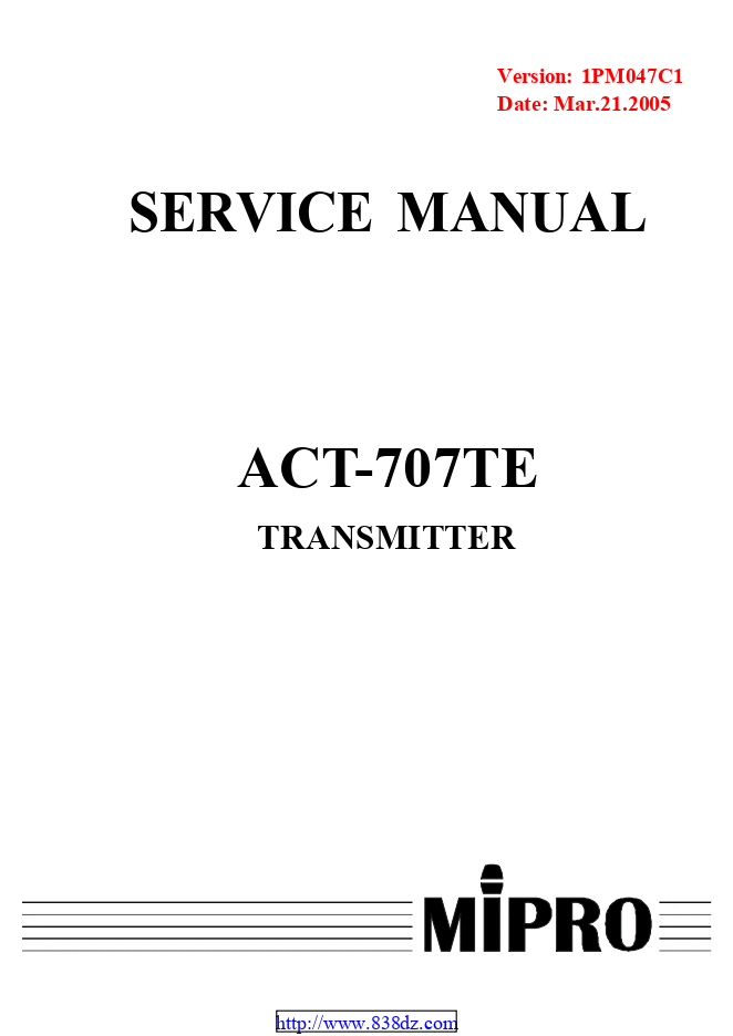 MIPRO咪宝 ACT-707TE麦克风维修手册