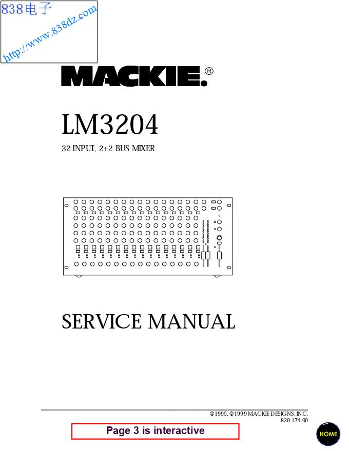 MACKIE美奇LM3204调音台维修手册