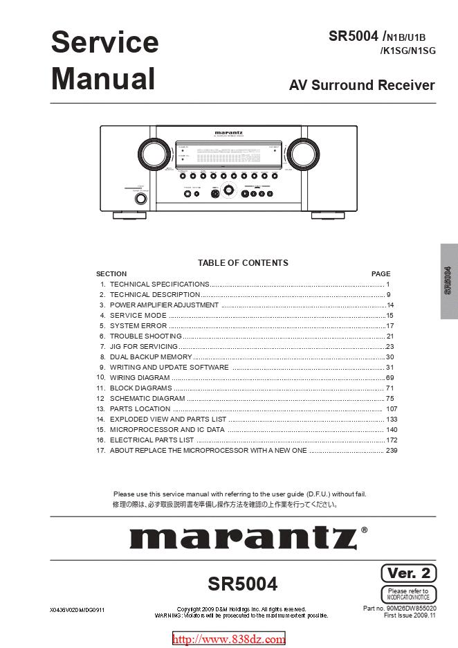 Marantz马兰士 SR5004 功放维修手册