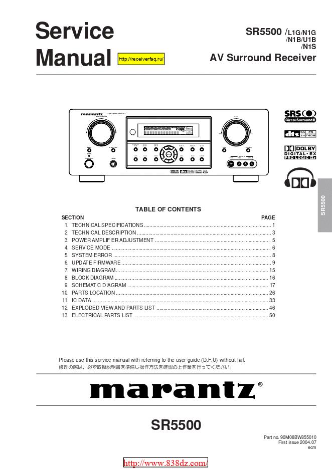 Marantz马兰士 SR5500功放维修图纸