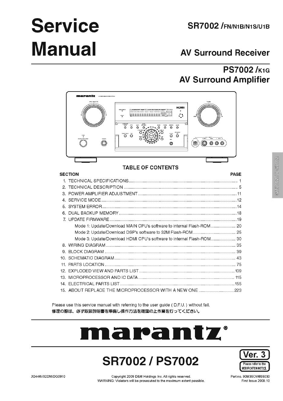 Marantz马兰士 SR7002功放维修手册