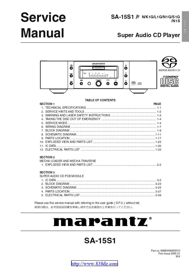 Marantz 马兰士SA-15S1功放维修手册