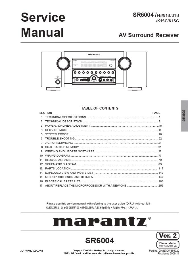 Marantz马兰士 SR6004 功放维修手册