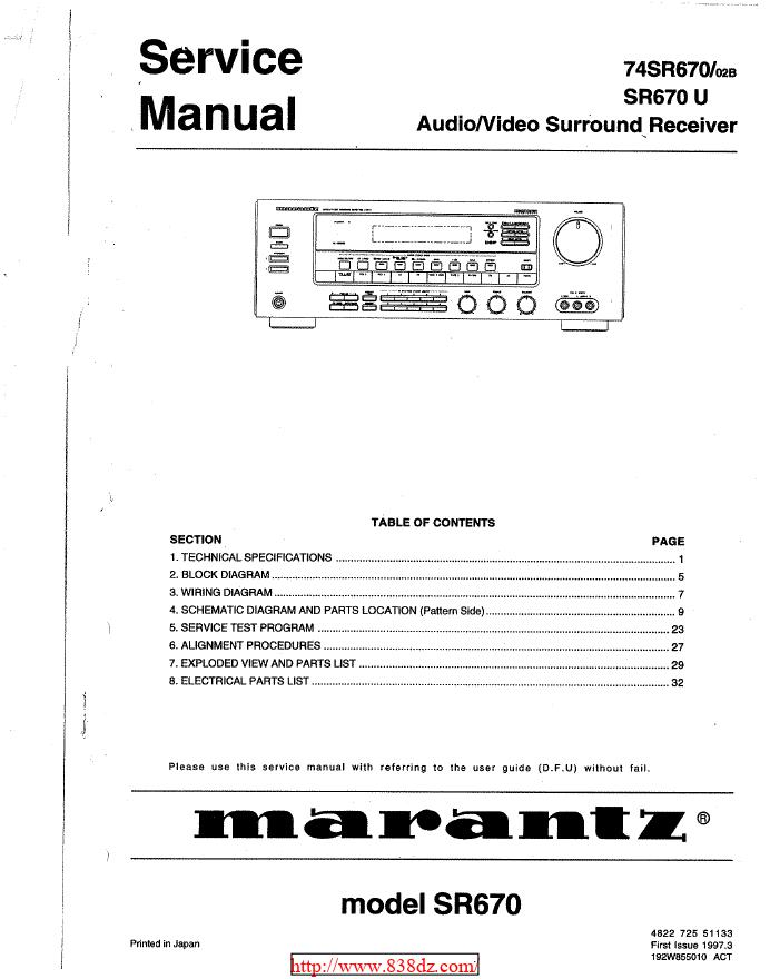 Marantz马兰士 SR670功放维修手册