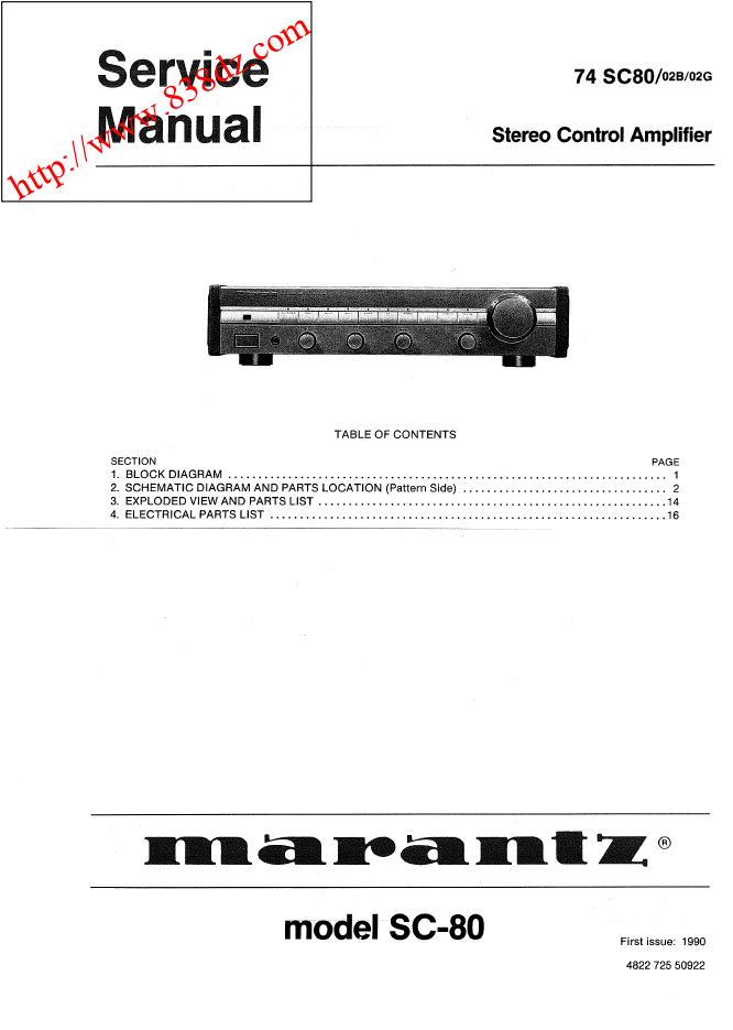 Marantz 马兰士 SC-80 功放前级维修电路图