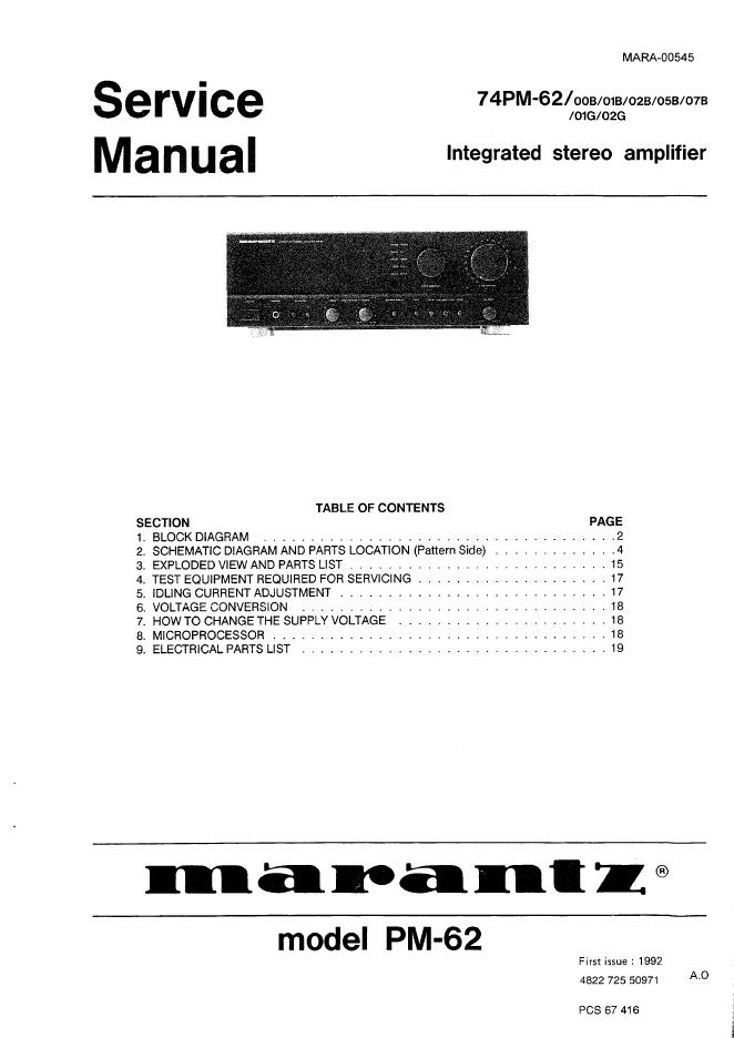 Marantz 马兰士 74PM-62维修手册