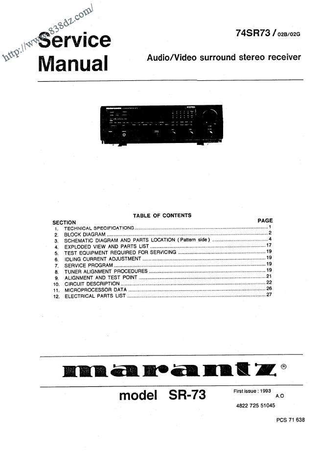 Marantz 马兰士SR73 74SR73功放维修手册