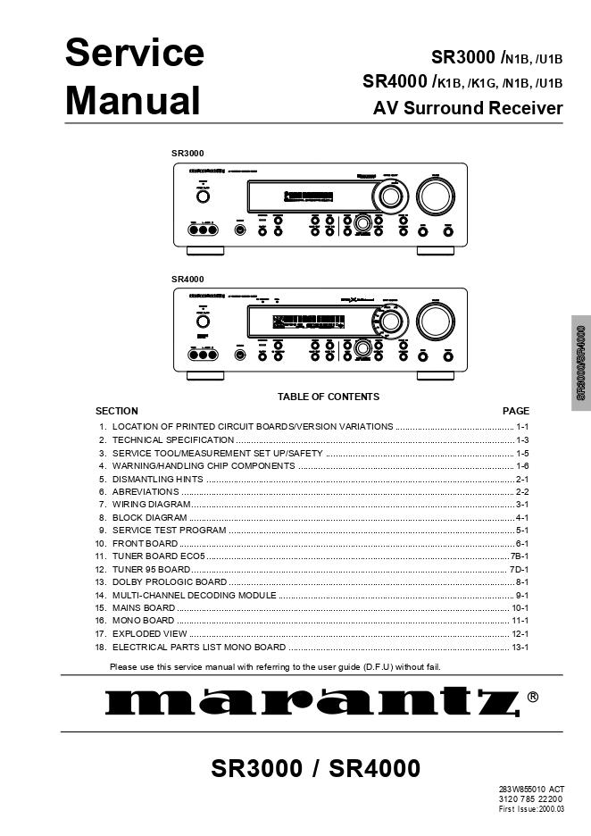 马兰士 MARANTZ SR3000 SR4000 收音环绕扩音器维修手册