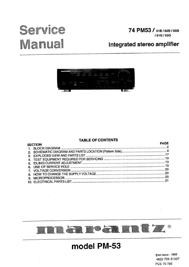 Marantz马兰士 PM53功放维修手册