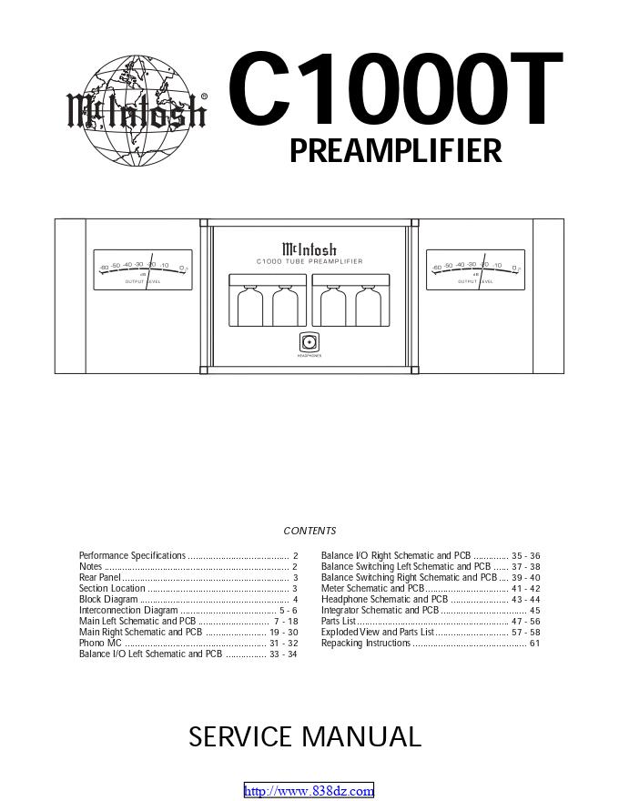 麦景图mcintosh c1000T 前级功放电路图
