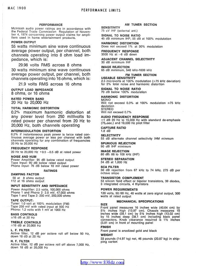 麦景图mcintosh MAC1900功放电路图