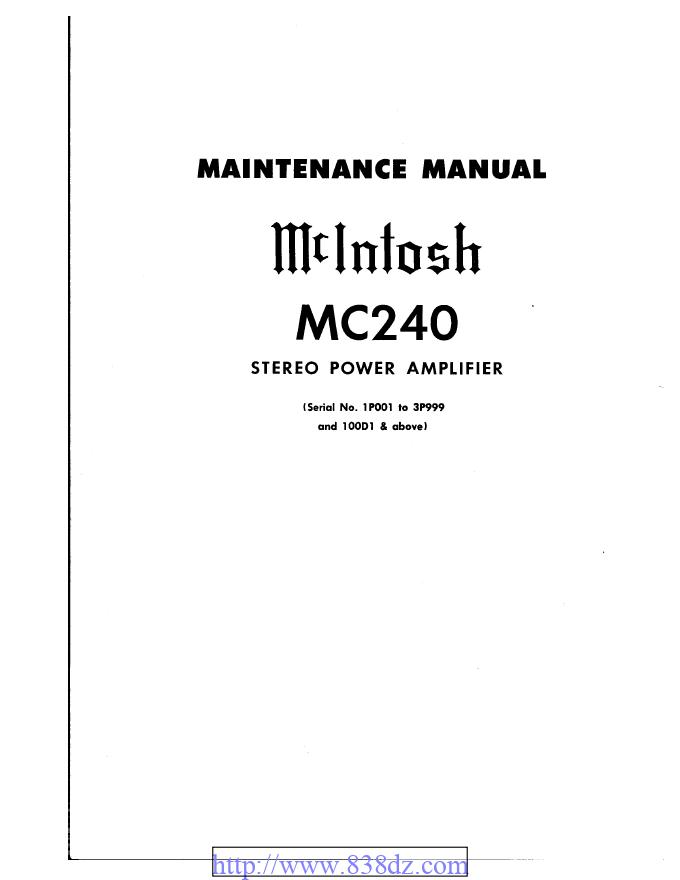 McIntosh麦景图MC240电子管功放维修电路图