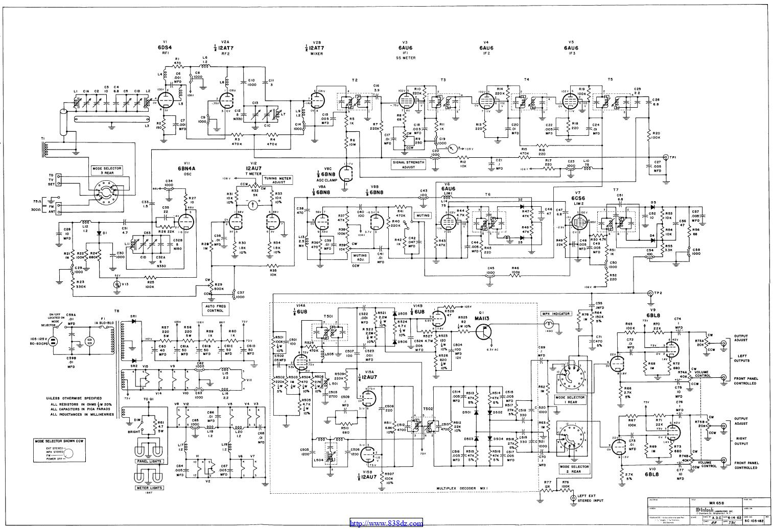 麦景图mcintosh MR65B电子管收音头电路图