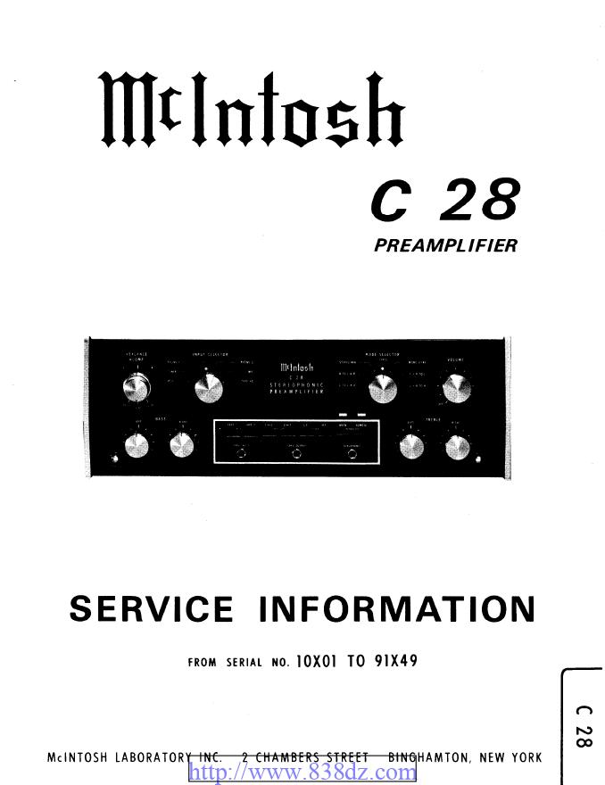 McIntosh麦景图 C28功放维修手册