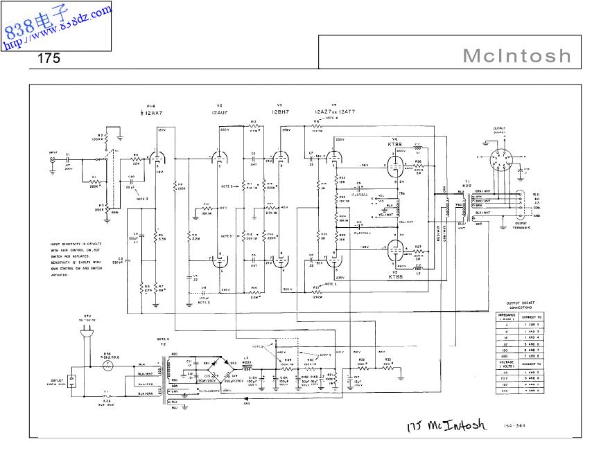 MCINTOSH麦景图MC175胆功放电路图