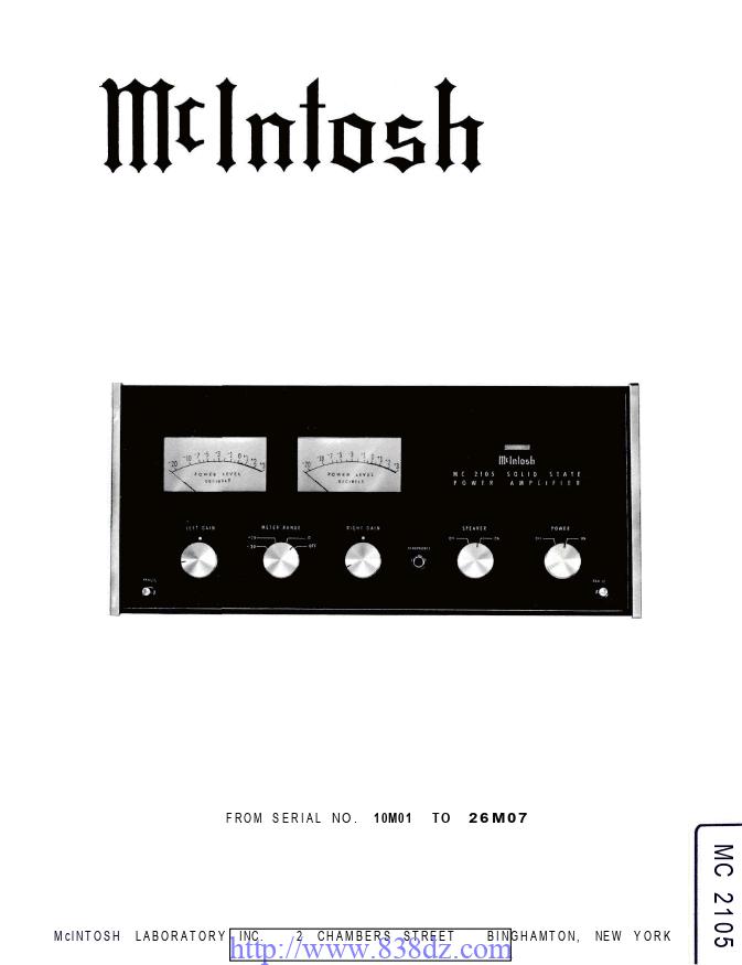 McIntosh麦景图 MC2105功放维修电路图