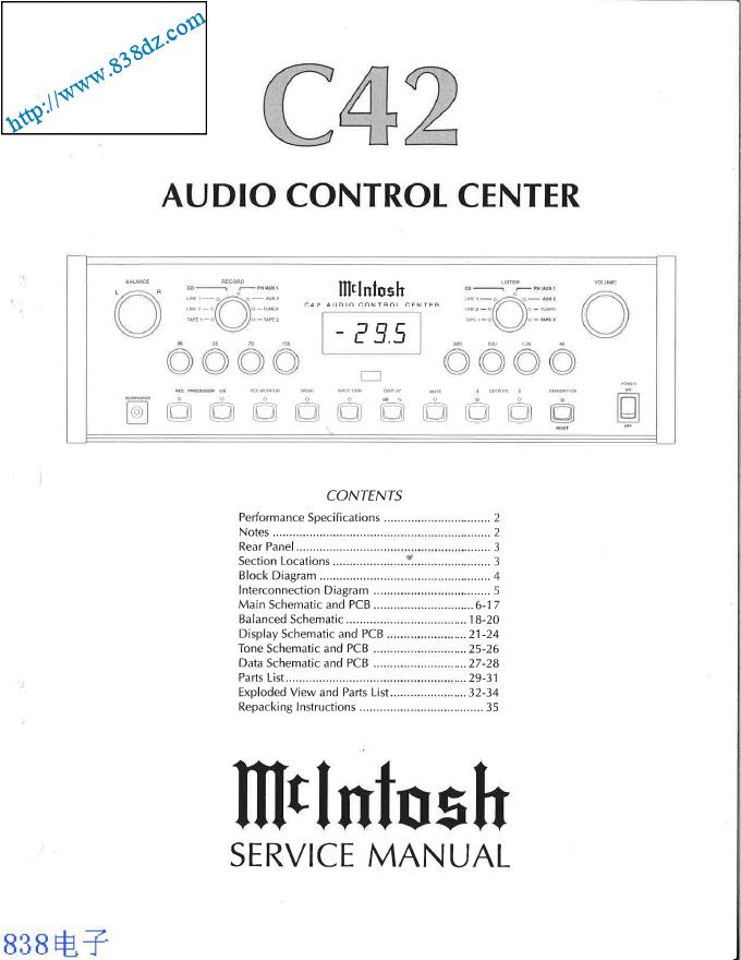 MCINTOSH麦景图C42前级维修手册