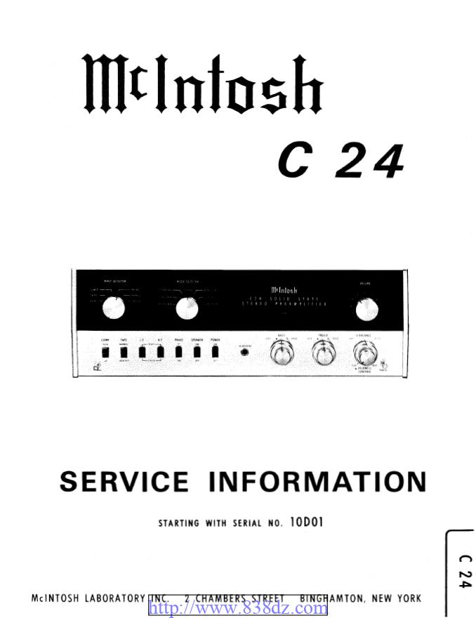McIntosh麦景图 C24前级维修电路图纸