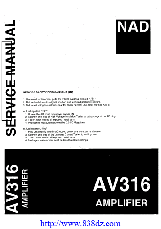 NAD AV316功放维修手册