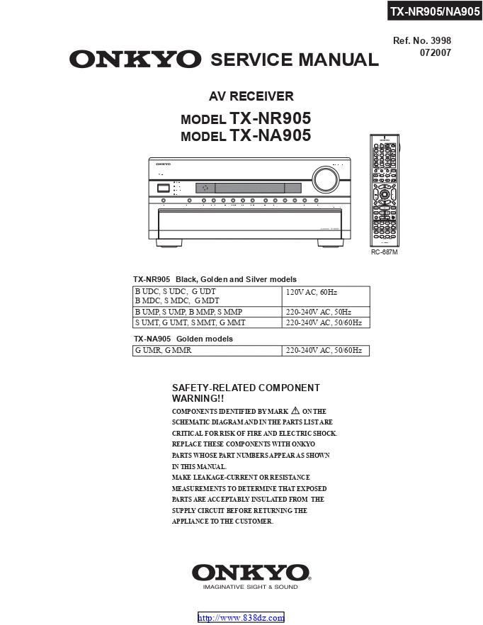 安桥Onkyo TX-NA905 AV功放图纸