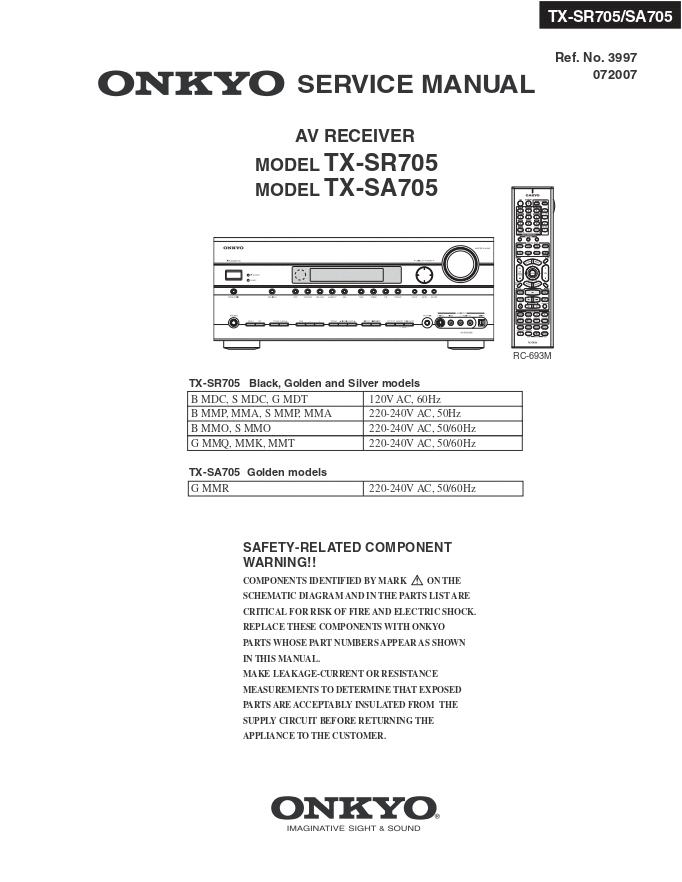 安桥Onkyo TX-SA705 AV功放电路图