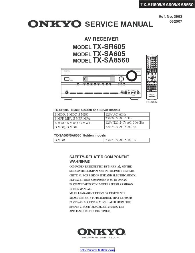 安桥Onkyo TX-SA605 AV功放电路图