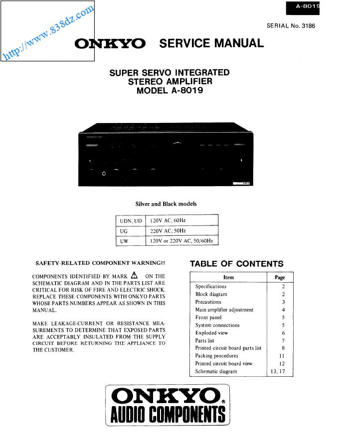 Onkyo安桥 A-8019音响功放电路图 维修手册