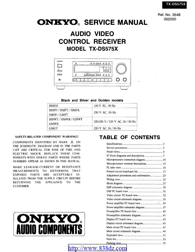 Onkyo安桥 TX-DS575X功放维修手册