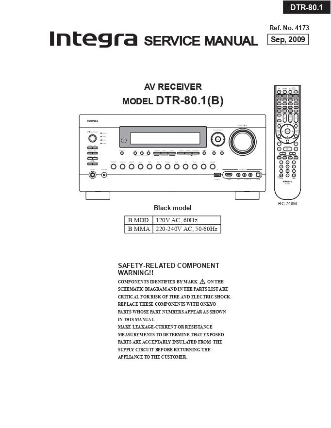 INTEGRA ONKYO安桥 DTR80.1功放维修手册