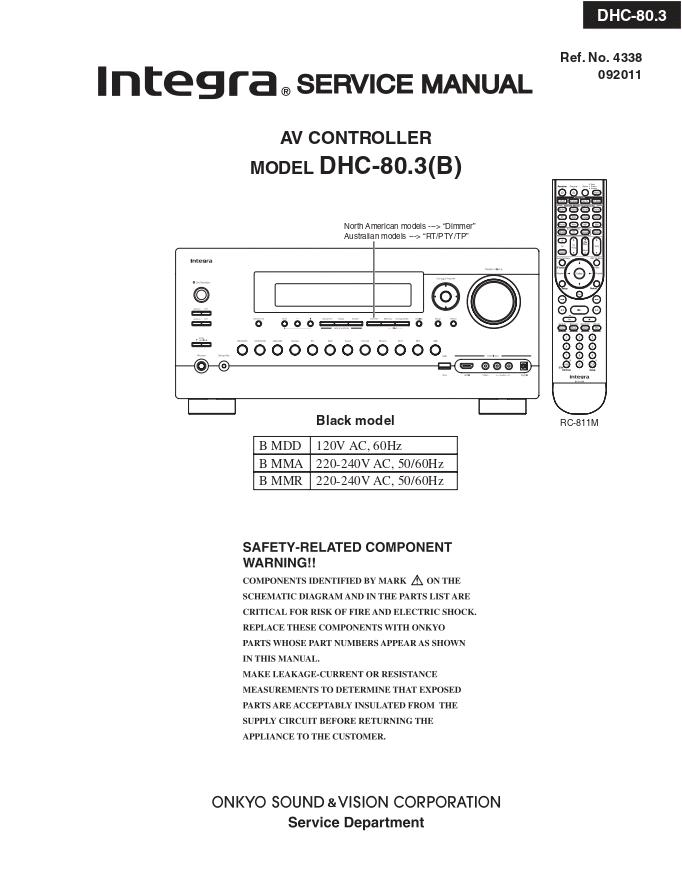 INTEGRA DHC-80.3 AV前置放大器维修手册