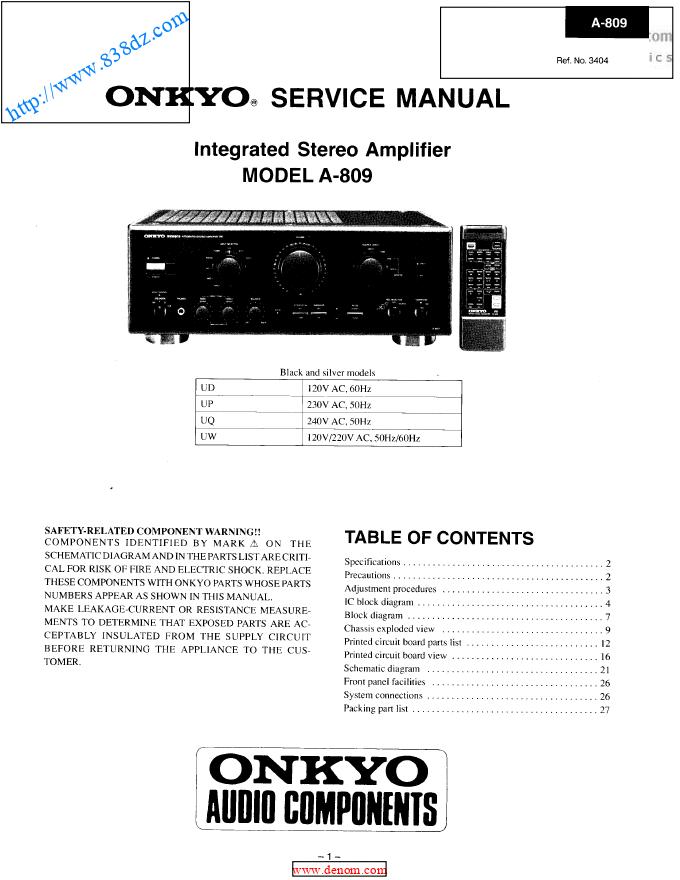 onkyo安桥 A-809音响功放电路图 维修手册