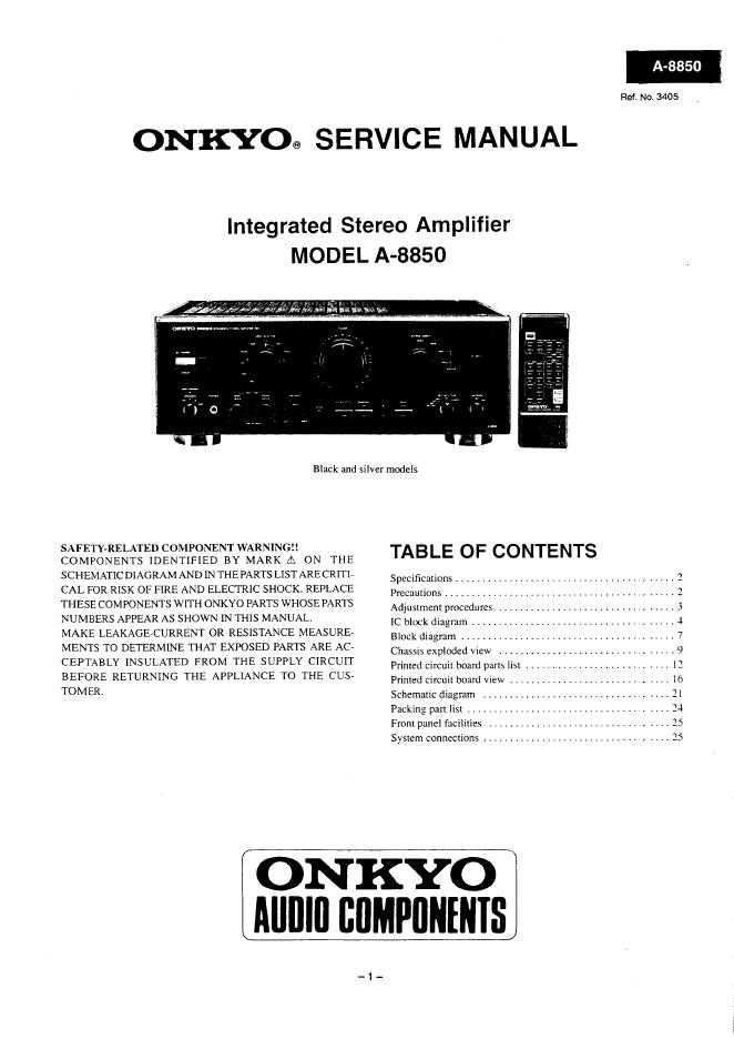Onkyo安桥 A-8850音响功放电路图 维修手册