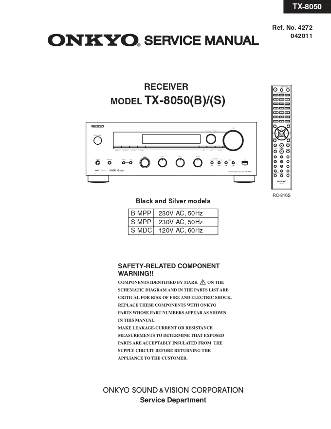 Onkyo 安桥TX-8050功放维修电路图纸手册