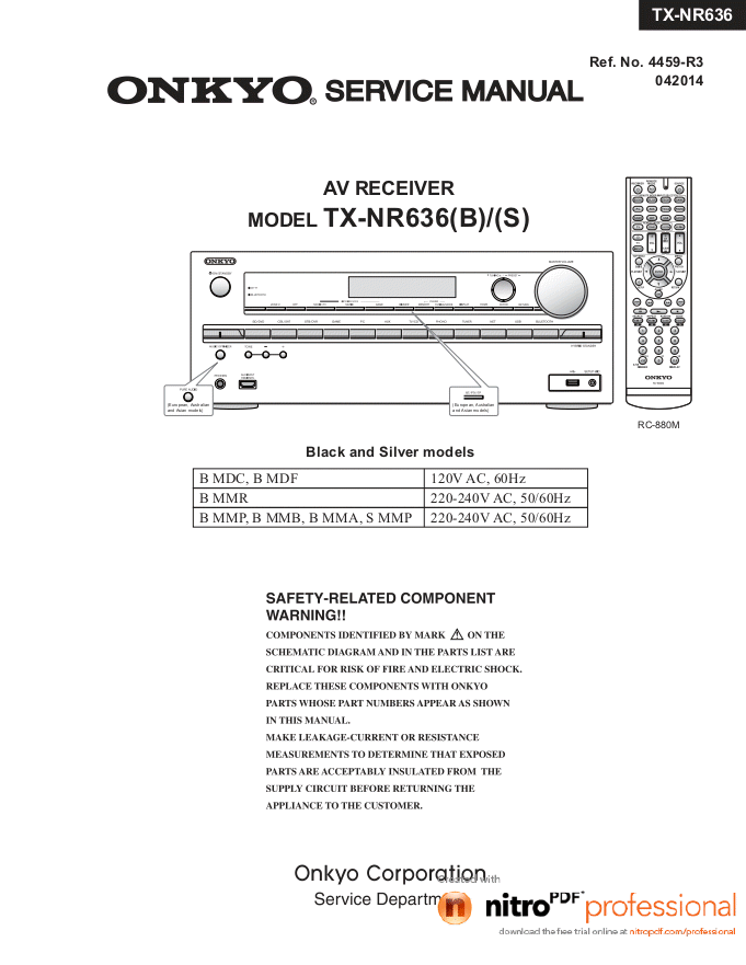 Onkyo 安桥TX-NR636 7.2声道全景声网络影音接收机AV功放机维修手册