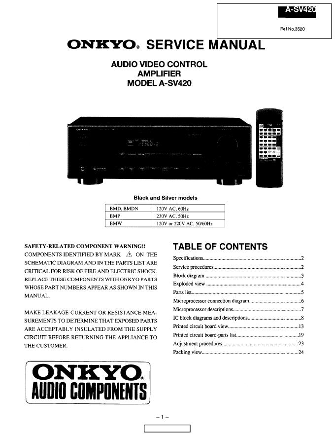 Onkyo 安桥A-SV420功放维修手册