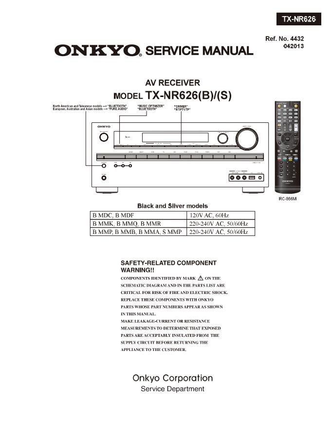 Onkyo 安桥TX-NR626功放维修手册