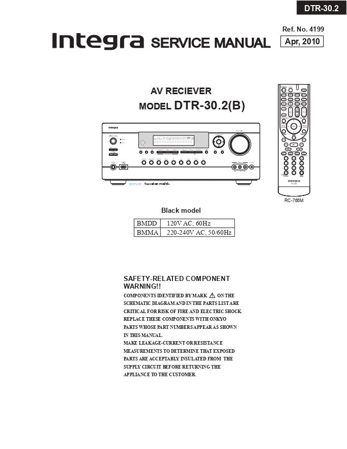 Onkyo INTEGRA安桥DTR-30.2(B)功放维修手册