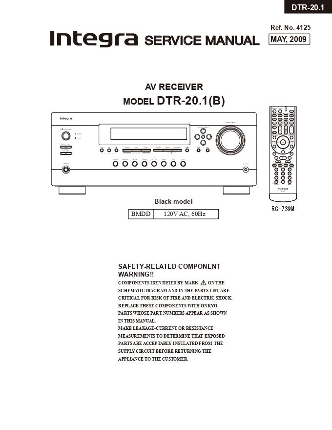 Onkyo INTEGRA安桥DTR-20.1(B)功放维修手册