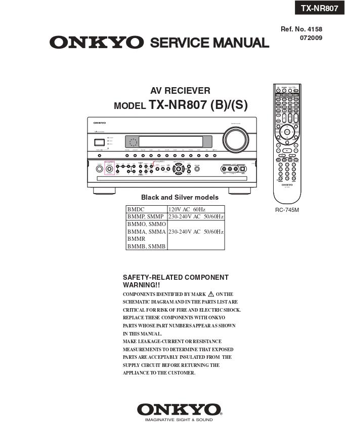 Onkyo 安桥TX-NR807功放维修手册