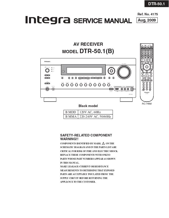 Onkyo INTEGRA安桥DTR-50.1(B)功放维修手册