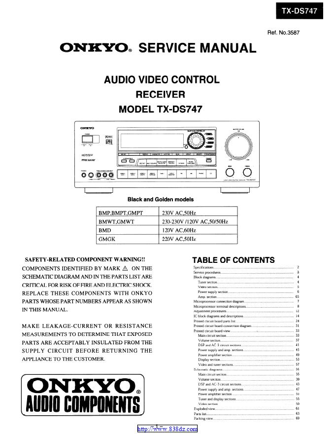 Onkyo 安桥TX-NR747功放维修手册