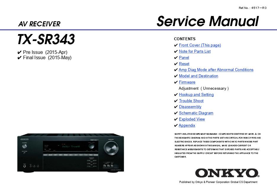 Onkyo 安桥TX-SR343功放维修手册