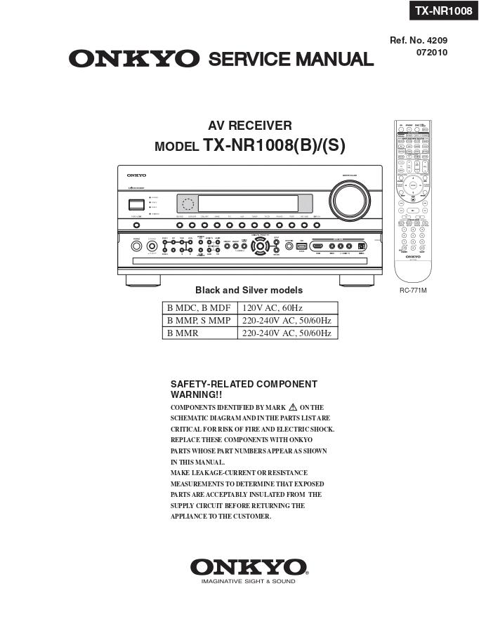 Onkyo 安桥 TX-NR1008 功放维修手册