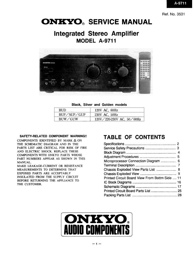安桥Onkyo A-9711 功放电路图
