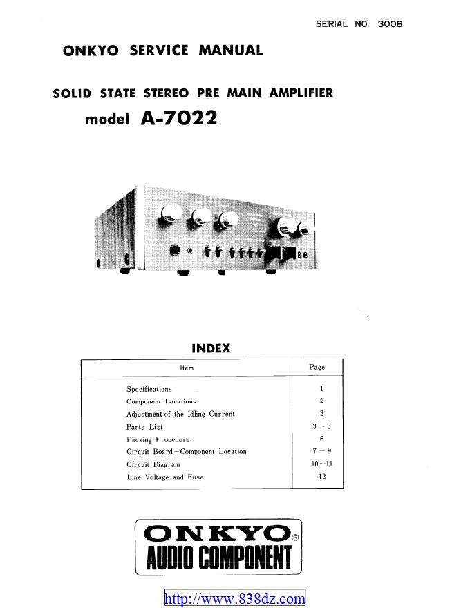 Onkyo安桥 A-7022功放维修手册