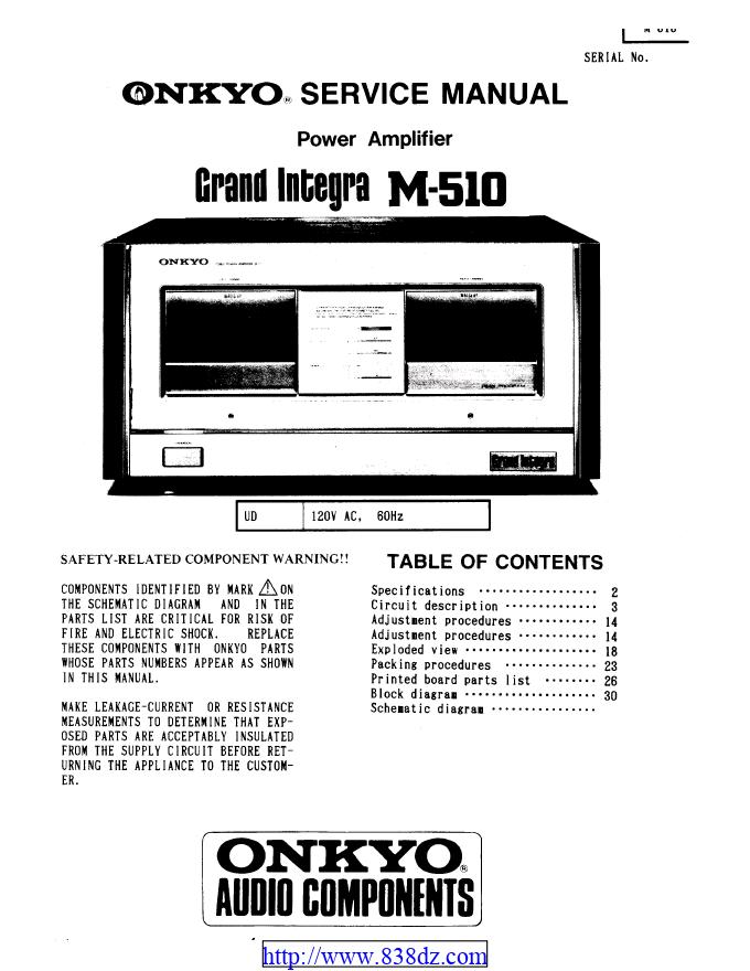 安桥Onkyo M-510 功放电路图
