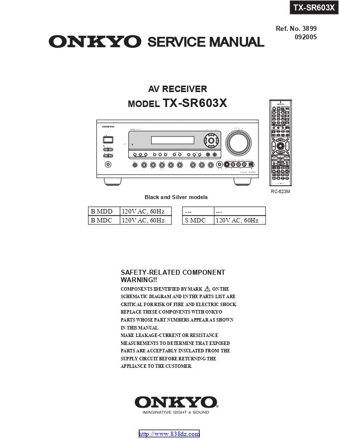 Onkyo 安桥 TX-SR603X功放维修手册