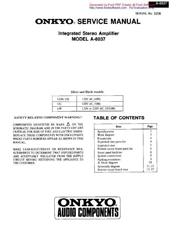 安桥Onkyo A-8037 功放电路图