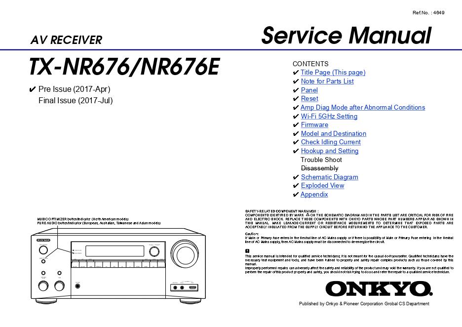Onkyo 安桥TX-NR676 TX-NR676E功放维修手册